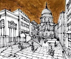 The Steps at St Paul's by Ingo -  sized 43x35 inches. Available from Whitewall Galleries